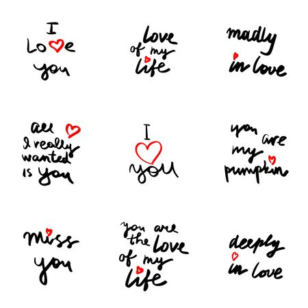 Hand written phrase. Vector card with sign I love you. Valentines day handdrawn lettering collection, love and romantic quote. Modern brush quote calligraphy on white background.