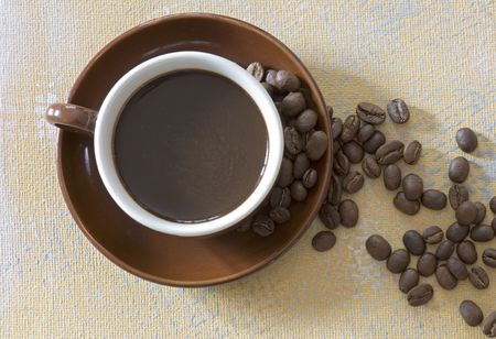coffeetime: coffee mug and coffee beans