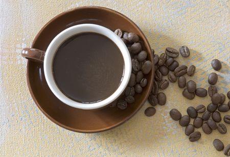 coffeetime: coffee mug and coffee beans