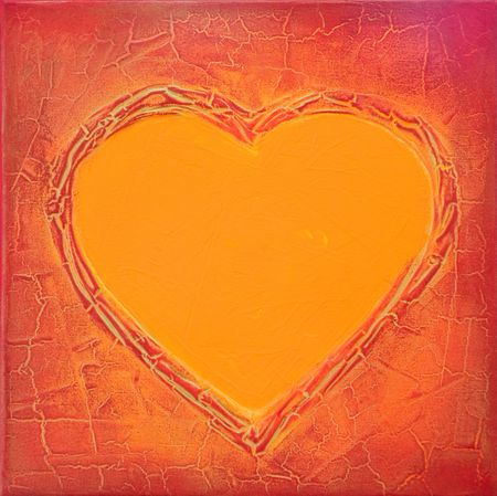 acrylic heart painting, artwork; artwork is created and painted by myself;  Stock Photo