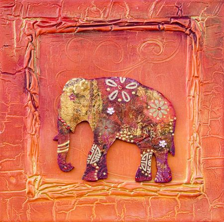 collage artwork with elephant, artwork is created and painted by myself
