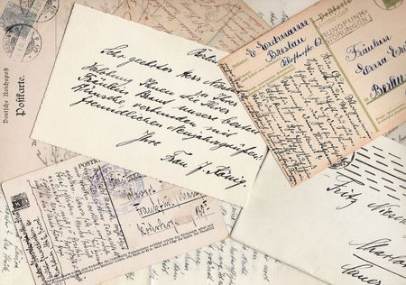 postcards: Collage of old handwritten letters and postcards Stock Photo