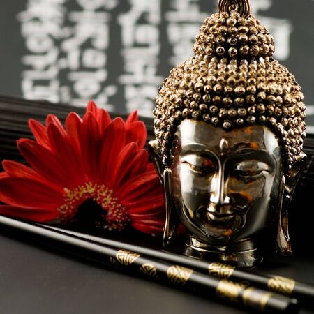 Still life asian style with buddha Stock Photo