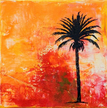 created: painting with palmtree, artwork is created and painted by myself;