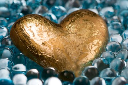 golden heart in shiny jelly decoration balls
