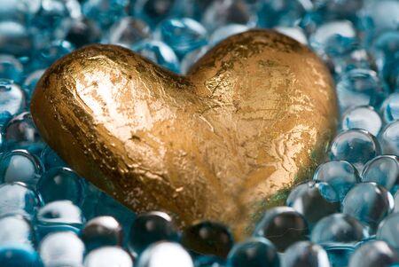 golden heart in shiny jelly decoration balls