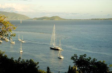 indies: View over the Caribbean Sea to Virgin Gorda Island  Stock Photo