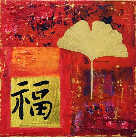 collage painting with chinese symbol for luck, artwork is created and painted by myself;