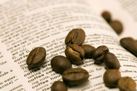 coffeebeans on dictionary photo