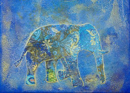 象コラージュ絵画、アートワークが作成され、自分で塗装
