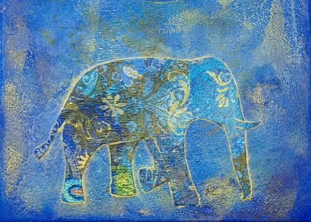 Elephant collage painting, artwork is created and painted by myself Stock Photo