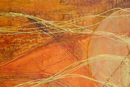 Orange abstract painting with golden lines, painting was created by photographer