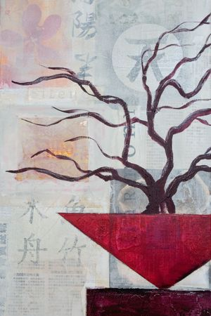 still life painting asian style, artwork is created and painted by myself Stock Photo