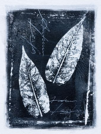 black and white painting with leaf, artwork is created and painted by myself