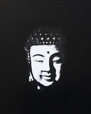 zenlike: black and white buddha painting, artwork is created and painted by myself