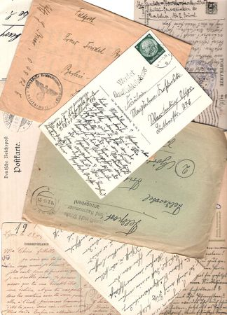Collage of old handwritten letters and postcards Stock Photo