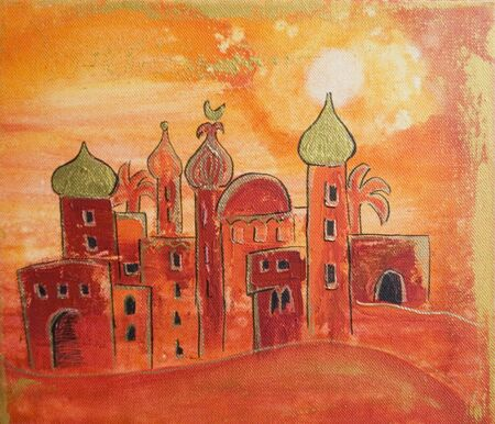 Painting of oriental village, artwork is created and painted by myself