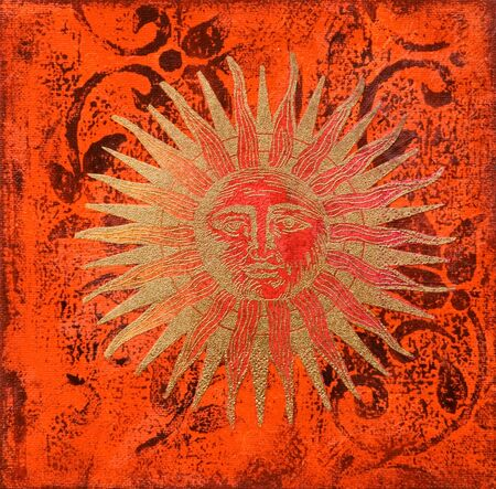 golden sun painting, artwork is created and painted by myself;  Stock Photo - 3158805
