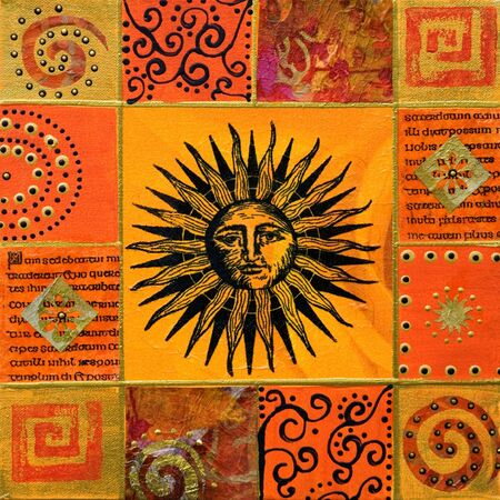 Collage painting with sun, artwork is created and painted by myself;