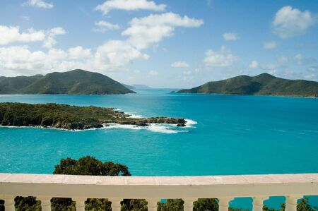 View from Camanoe Island over Guana Island and Tortola in the BVI