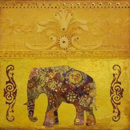콜라주 그림 코끼리와 함께, 아트웍을 만들고 자신에 의해 그렸다; 스톡 콘텐츠