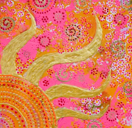 Painting with golden sun and colorfull ornaments, painting was created by photographer