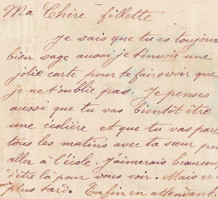 오래 된 편지에 프랑스어로 필기