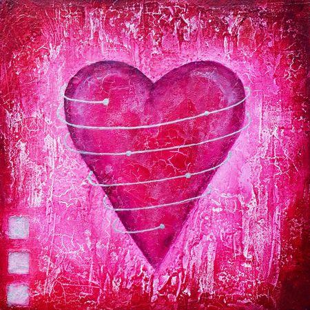 Dipinta cuore rosa con spirale, opere d'arte viene creata e dipinta da me stesso