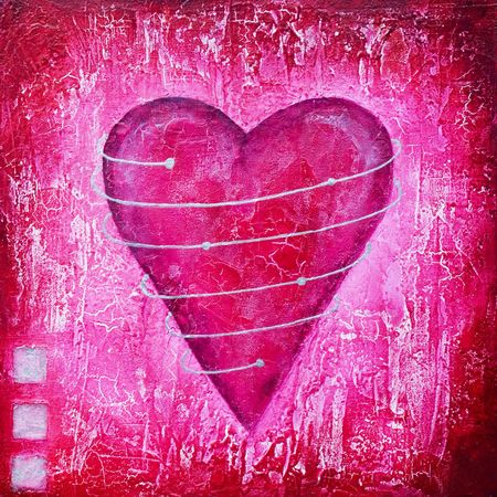 Painted pink heart with spiral, artwork is created and painted by myself Stock Photo
