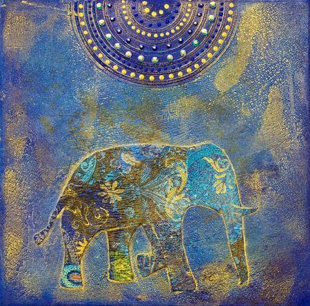코끼리 collage 페인팅, 아트웍을 만들고 자신에 의해 그린