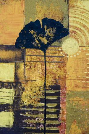 추상 미술 작품 콜라주 은행 나무 잎, 아트웍을 만들고 자신에 의해 그린