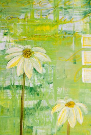 acrylic painting: Painted daisy flowers, painting was created by photographer