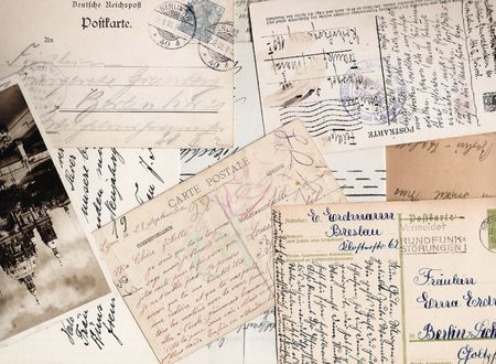 old fashioned: Collage of old handwritten letters and postcards Stock Photo