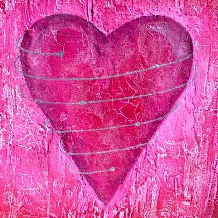 yearning: Painted pink heart in rich texture, silver spiral around the heart