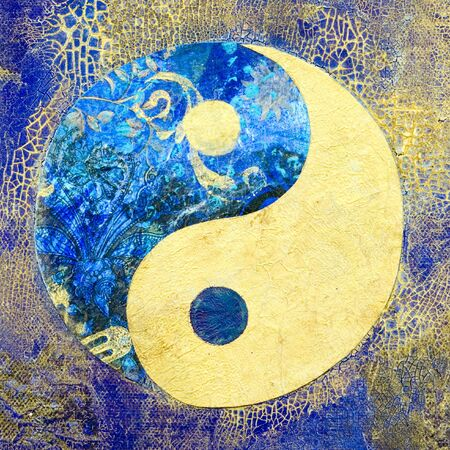 Collage with ying and yang symbol, artwork is created and painted by myself; artwork;