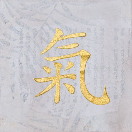 painting with chinese symbol for chi, artwork is created and painted by myself; artwork;