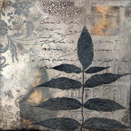 콜라주 아트 워크를 잎, 아트웍을 만들고 자신에 의해 그린 스톡 콘텐츠