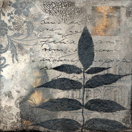 collage artwork with leaf, artwork is created and painted by myself