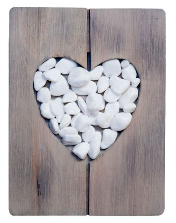 heartshaped: heartshaped wooden frame filled with white stone