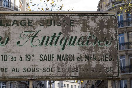 weathered sign at the street in Paris/France Stock Photo - 3190336