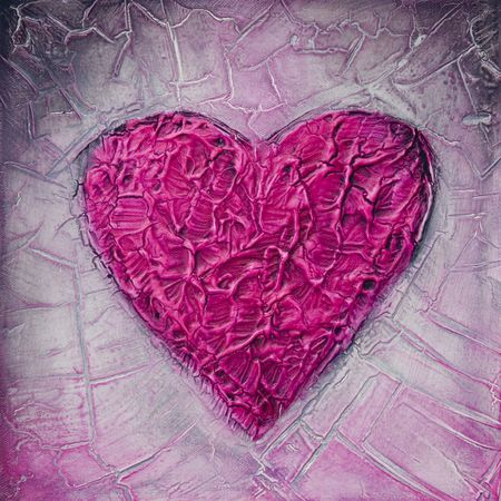 textured acrylic painting of a pink heart, painting was created by the photographer Stock Photo