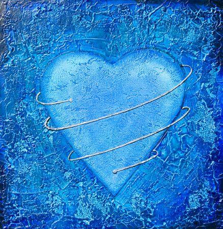 리치 질감, 실버 나선형 함께 파란색 심장의 페인팅. 그림은 사진 작가가 만들었습니다.
