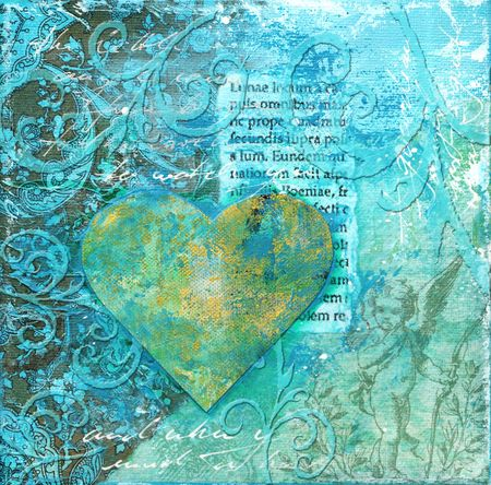 Blue collage artwork with heart, artwork is created and painted by myself