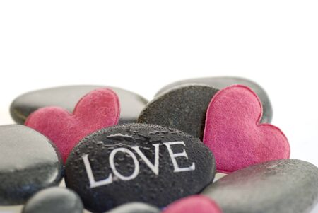 pink heart with engraved stone Stock Photo - 3229142