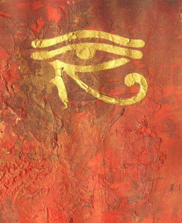 ojo de horus: pintura con horus ojo, s�mbolo egipto, obras de arte es creado y pintado por m� mismo  Foto de archivo