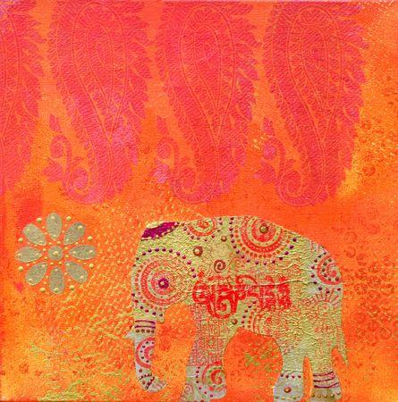 インド風の絵画コラージュ、アートワークが作成され、自分で塗装 写真素材