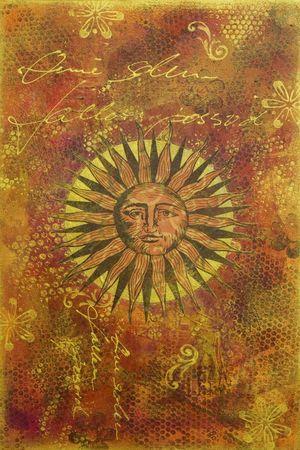 obras de arte con sol, obras de arte es creado y pintado por mí mismo  Foto de archivo - 3229216