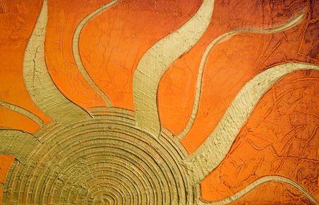 황금빛 태양이있는 Acylic 질감 된 페인팅, 그림은 사진 작가가 만들었습니다.