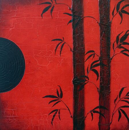 zenlike: Bamboo painting red and black , artwork is created and painted by myself