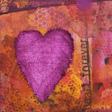 collage artwork with heart, artwork is created and painted by myself photo